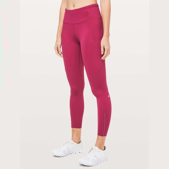 Lululemon Fast and Free 7/8 Tights Violet Red